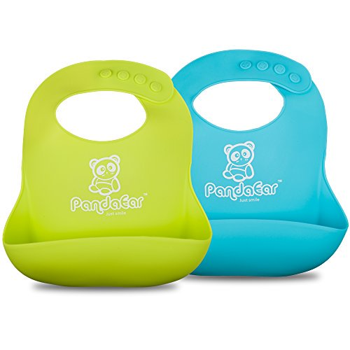 PandaEar Silicone Bibs w/ Food Catcher
