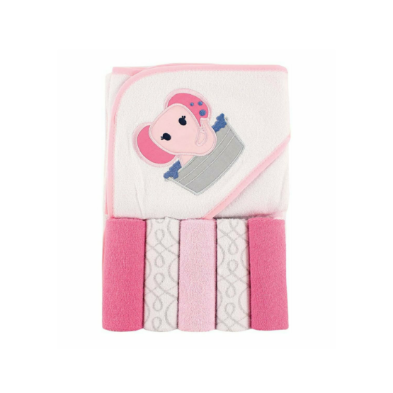 Luvable Friends Hooded Towel with Five Washcloths – Elephant (Pink)
