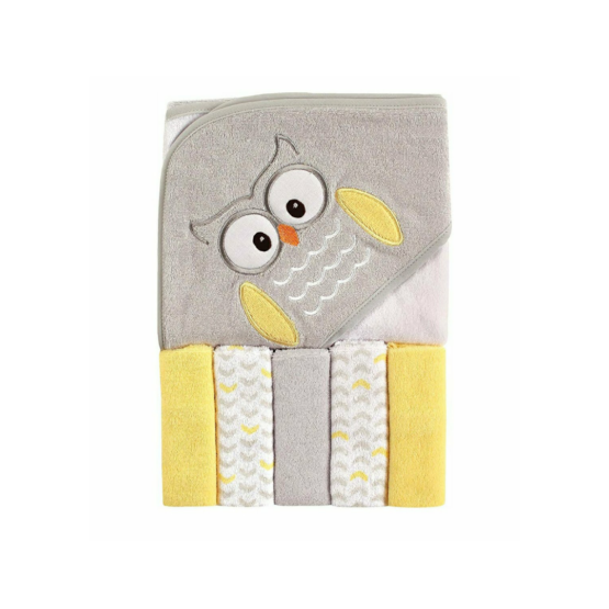 Luvable Friends Hooded Towel with Five Washcloths – Owl (Yellow)