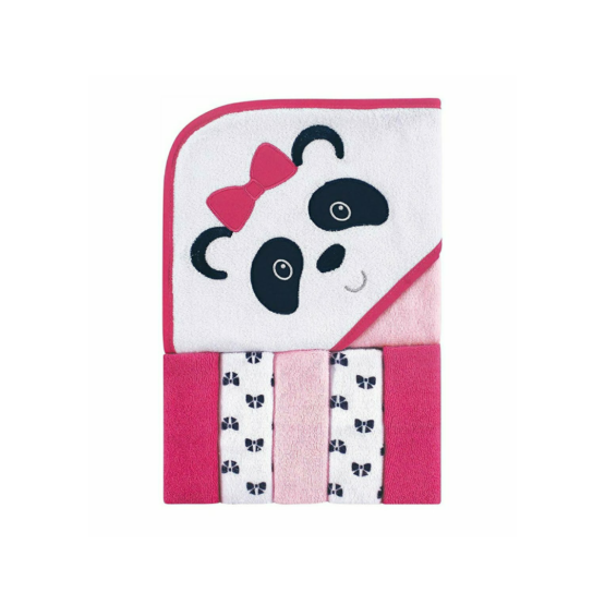 Luvable Friends Hooded Towel with Five Washcloths – Panda (Pink)