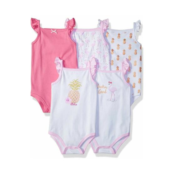 Hudson Baby 5pc Cotton Sleeveless Onesie – Pineapple (Girl)