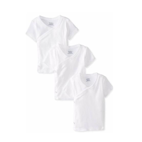 Gerber 3pcs Side Snap Shirts – White