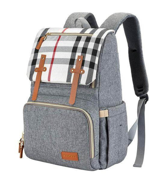 Espidoo Baby Diaper Bag Backpack – Light Grey/Plaid