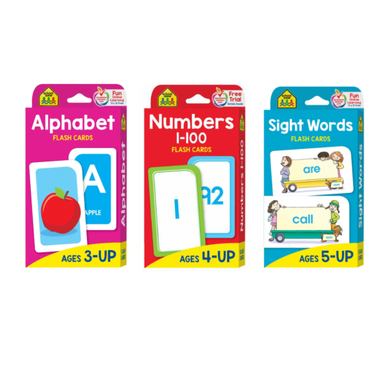 3 Pack School Zone Flash Cards