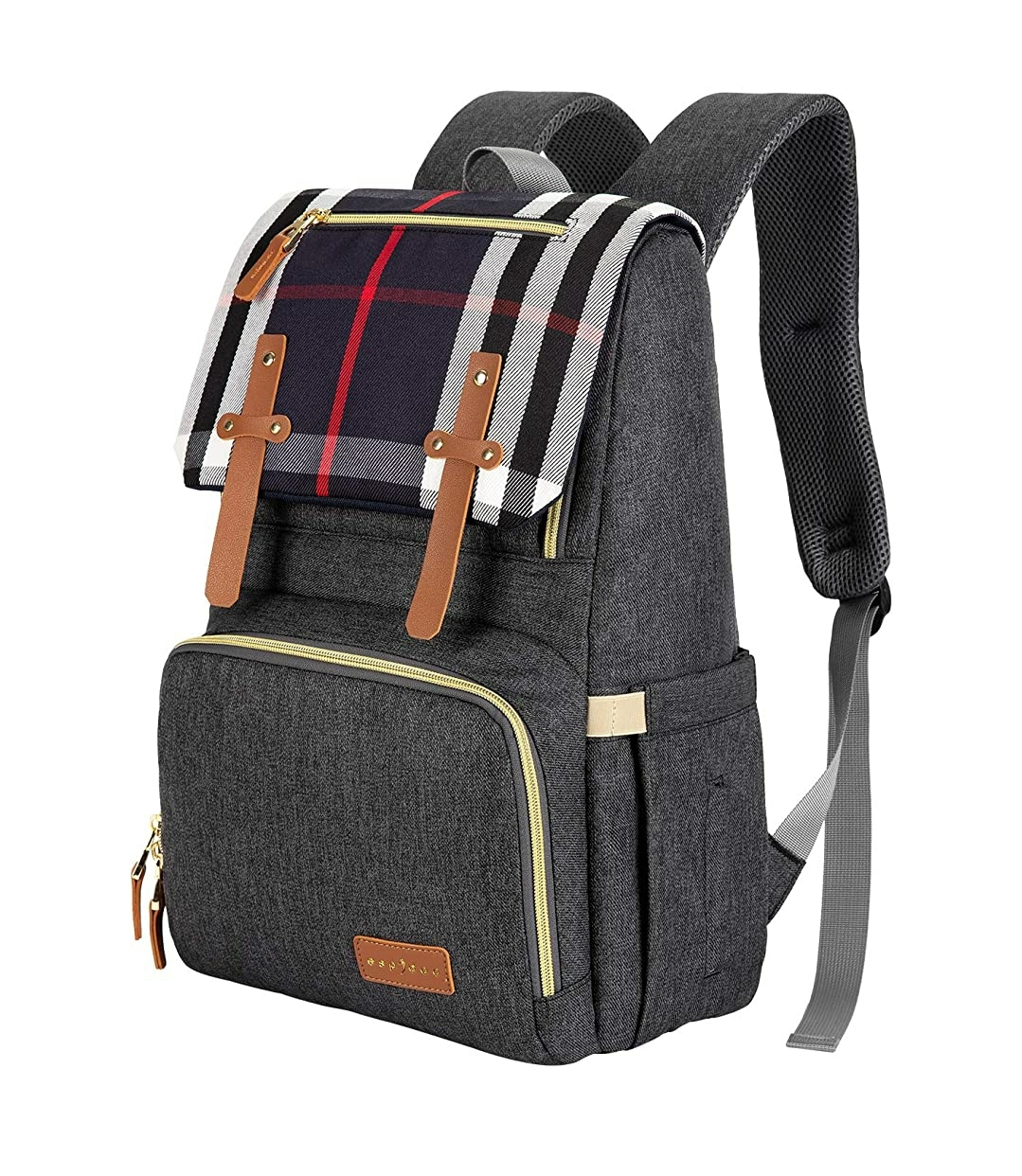 Espidoo Backpack Diaper Bag – Dark Grey/Plaid